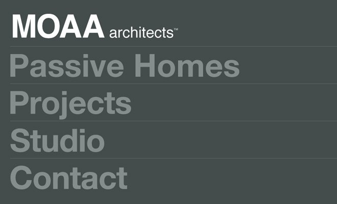 moaa architects dark website layout