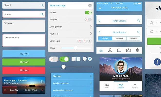 awesome ui kit freebie mobile