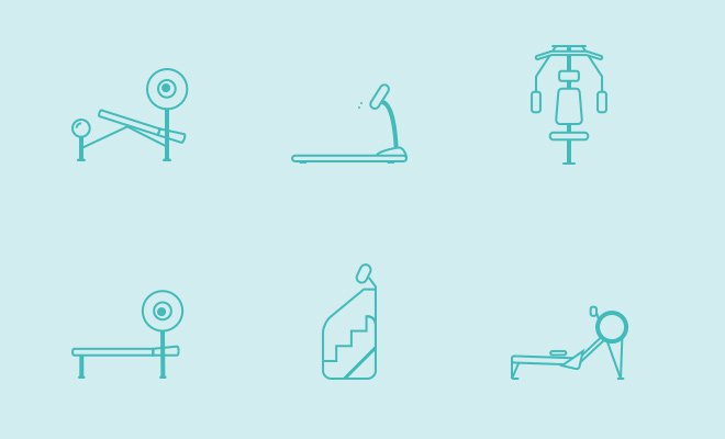 thin line icons workout equipment