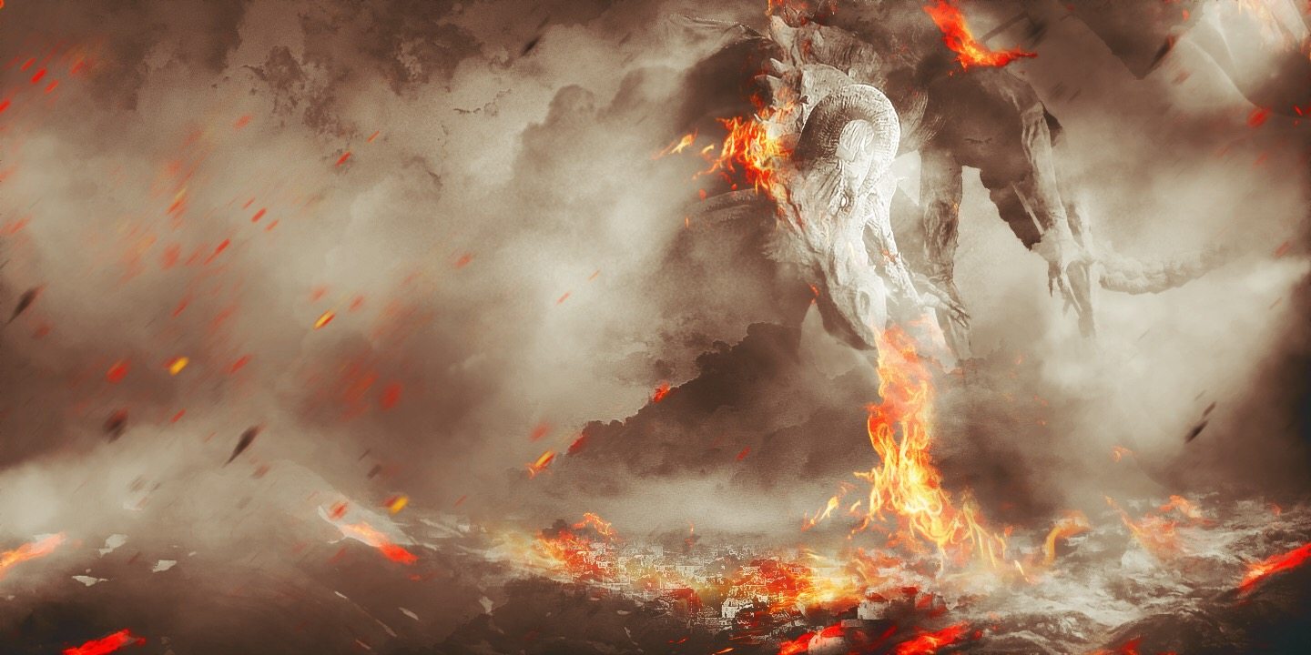 Create Fiery Dragon Ravaging Mountain Village Scene in Photoshop