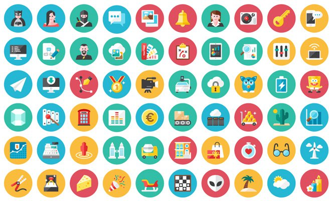 120 multicolor vector iconset freebie