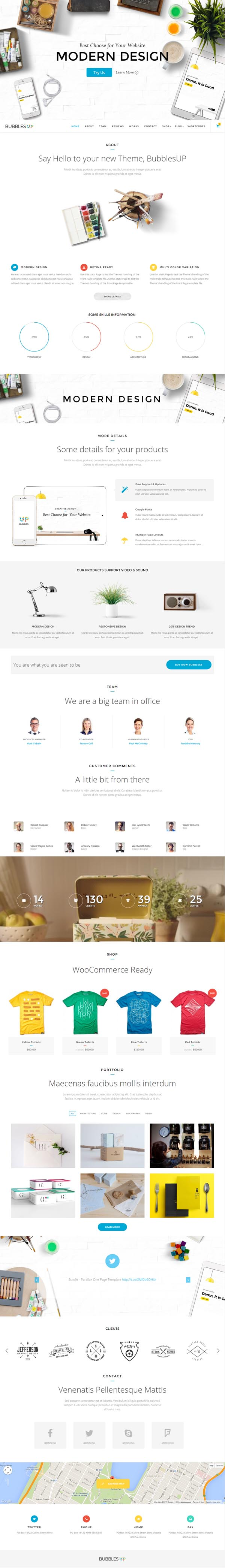 BubblesUP - Multi-Purpose One Page WordPress Theme