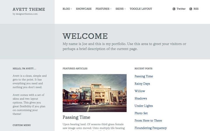 avett minimalist portfolio responsive theme
