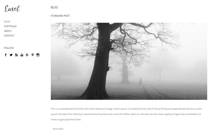 easel art minimal portfolio theme design
