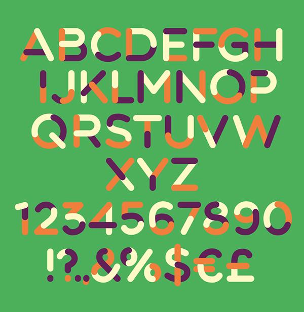 TriColore font letters