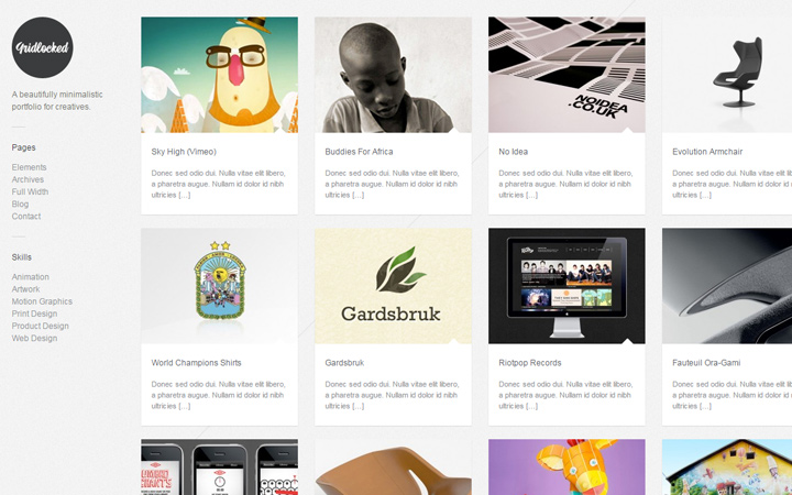 gridlocked minimal wordpress portfolio