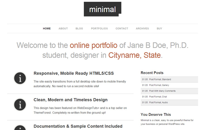minimal pro wordpress portfolio theme