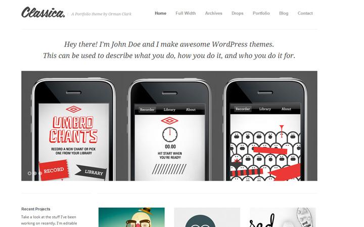 classica minimal portfolio wordpress theme