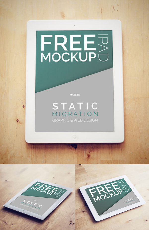 iPad on Wood Surface PSD Mockup