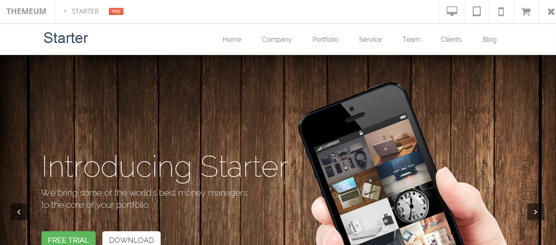 Starter - Free WordPress Onepage Theme