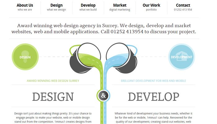 1minus1 agency homepage symmetrical site
