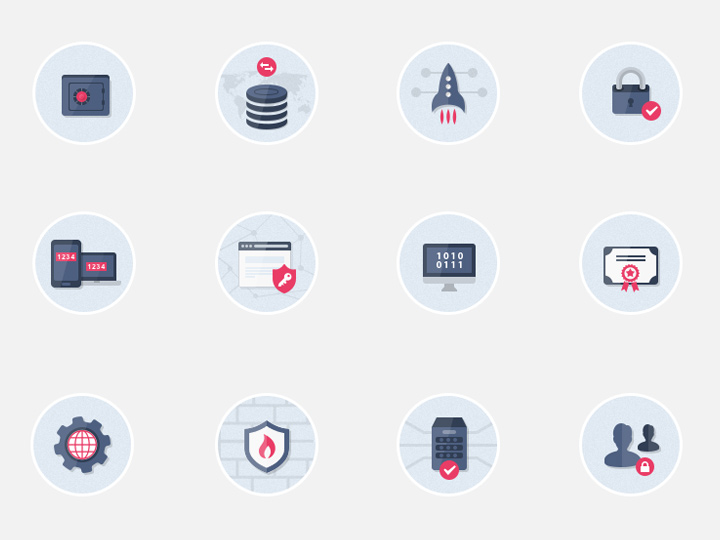 flat design security circle icons