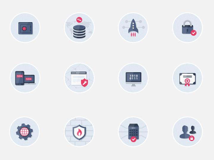 flat design security circle icons