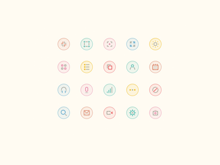 small pastel glyph icons psd