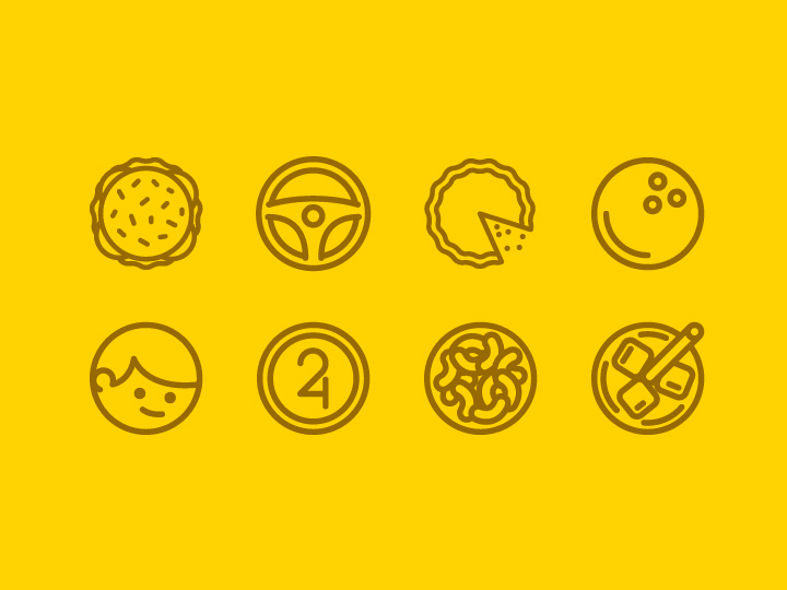 thin birthday yellow line icons