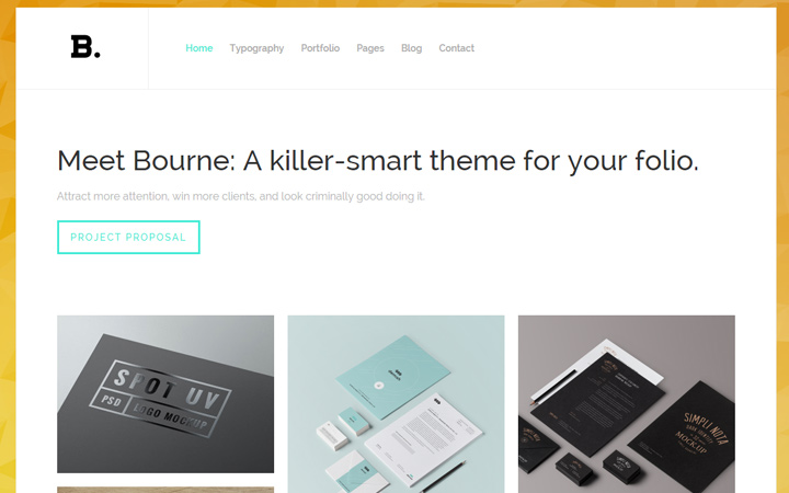 bourne portfolio theme wp wordpress