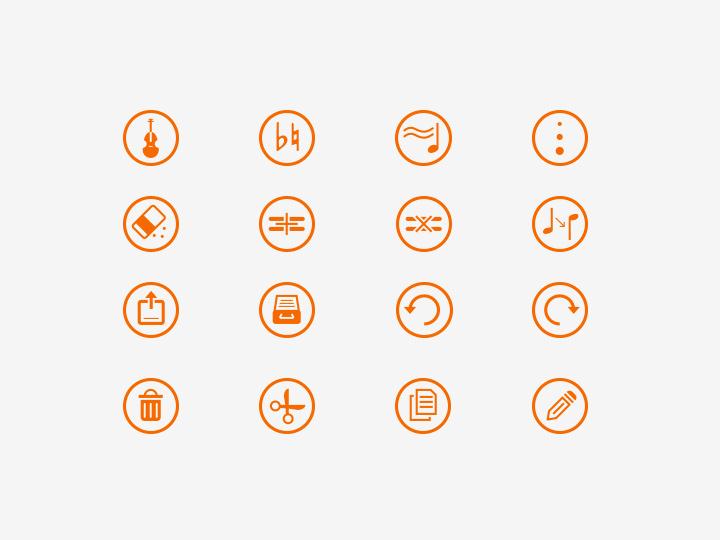thin line icons music app ui