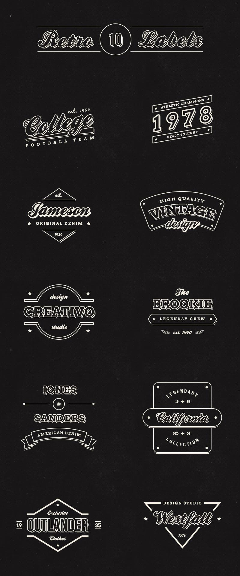 big preview - 10 free vintage retro labels logos