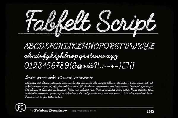 Fabfelt script font letters