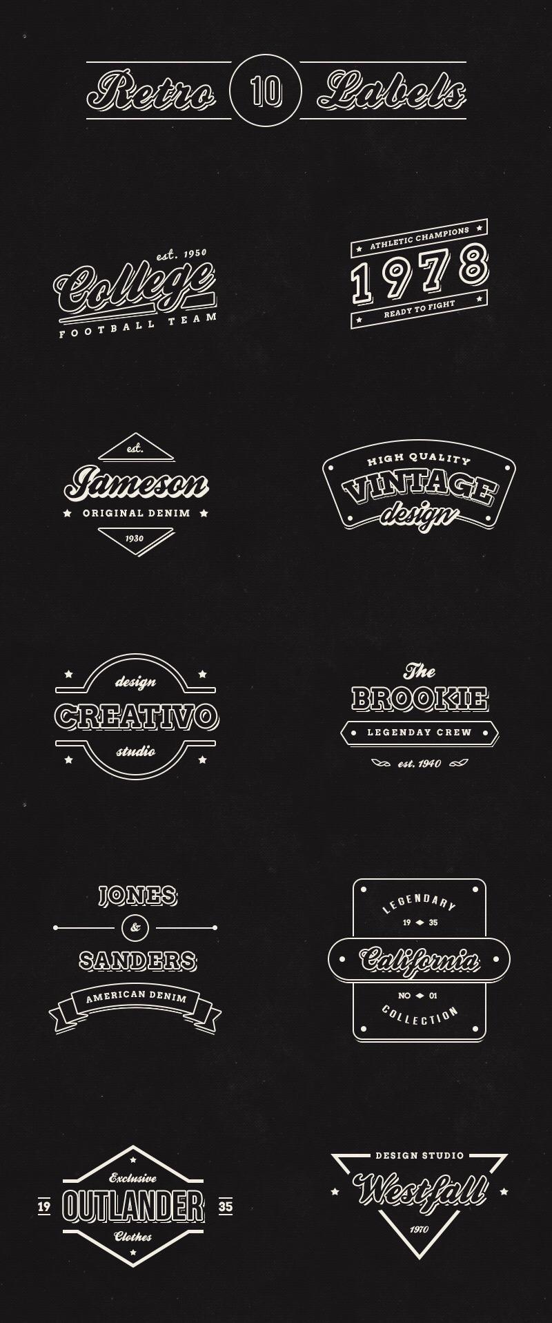 10 Free Vintage Retro Labels(PSD)