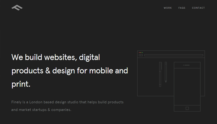 finely co black white simple website design