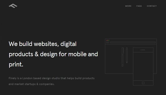 finely co black white simple website design