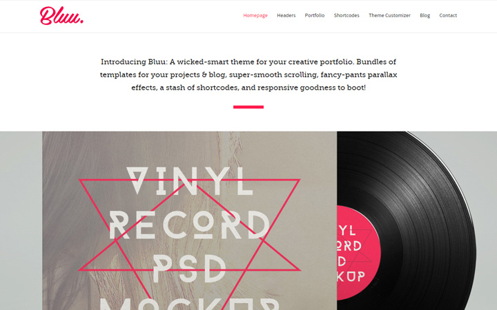 bluu wordpress portfolio theme design