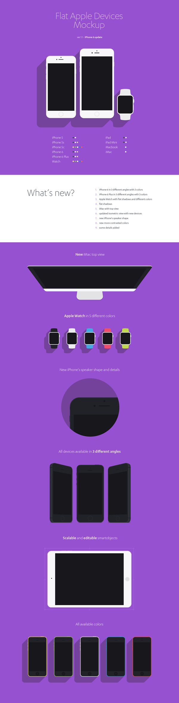 2.Flat Apple Devices Mockup