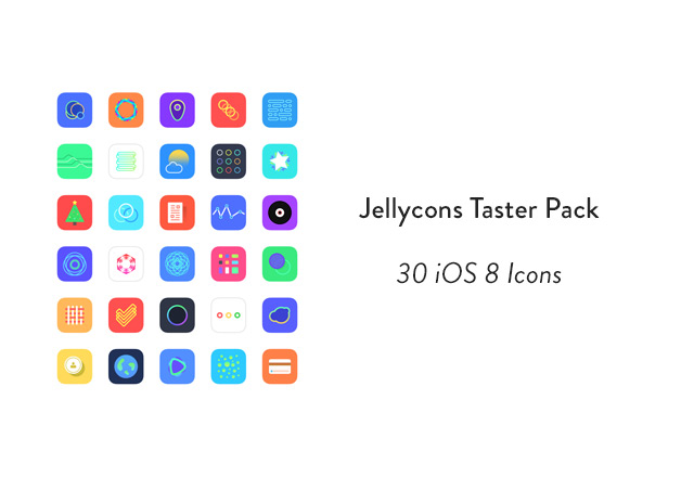 Jellycons – 30 Sketch iOS8 icons
