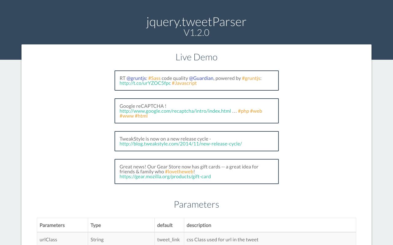 jQuery Twitter Parser