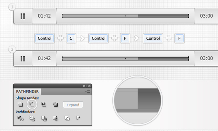 audio bar player interface illustrator