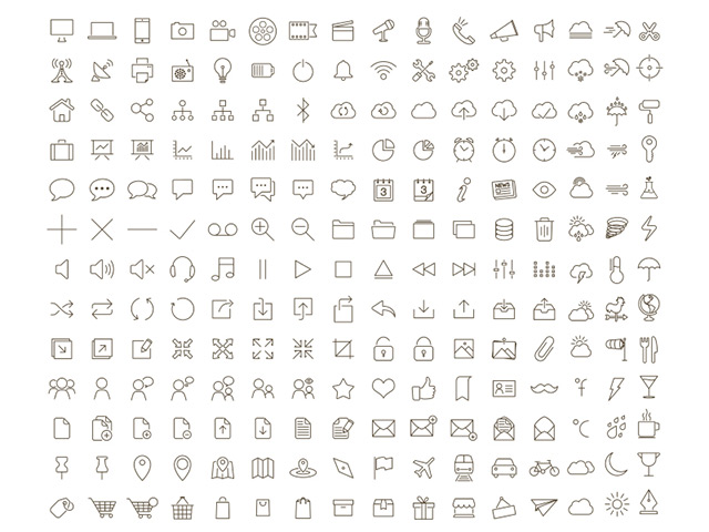 Tonicons – 200 outline icons