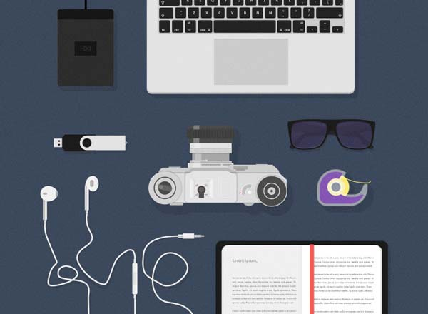 Desk items – Flat mockups