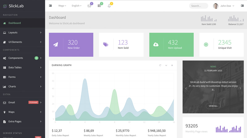 Beautifully designed and super clean flat admin dashboard template.