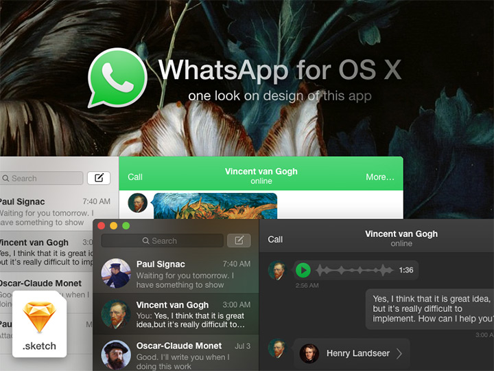 WhatsApp OSX concept – Sketch