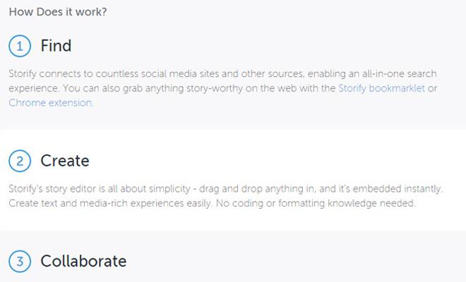 storify startup homepage responsive design