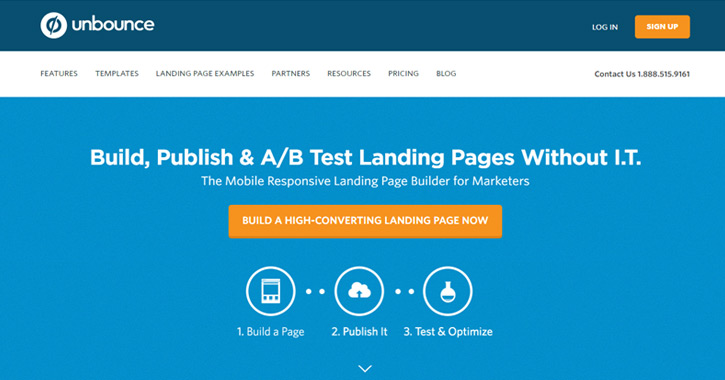 unbounce landing page ab testing tool