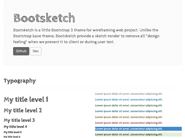 Bootsketch – Bootstrap theme for wireframing