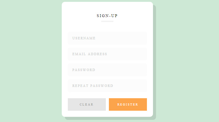 animated clean signup form html5 css3