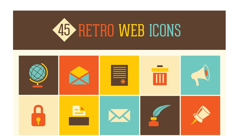 45 Retro Web Icons Set