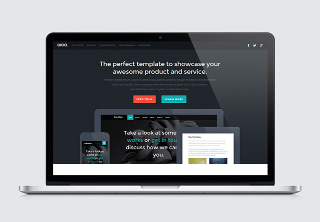 Woo – Landing page HTML template