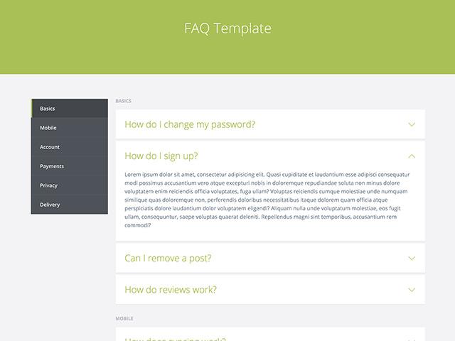 FAQ template – HTML