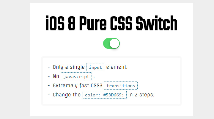 ios8 flat green switch on off css3 code