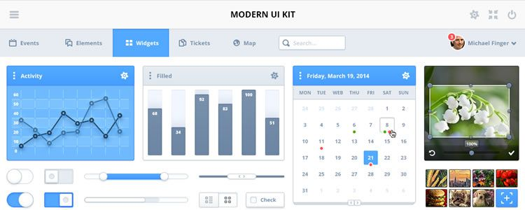 Modern Simple and Elegant UI Kit PSD