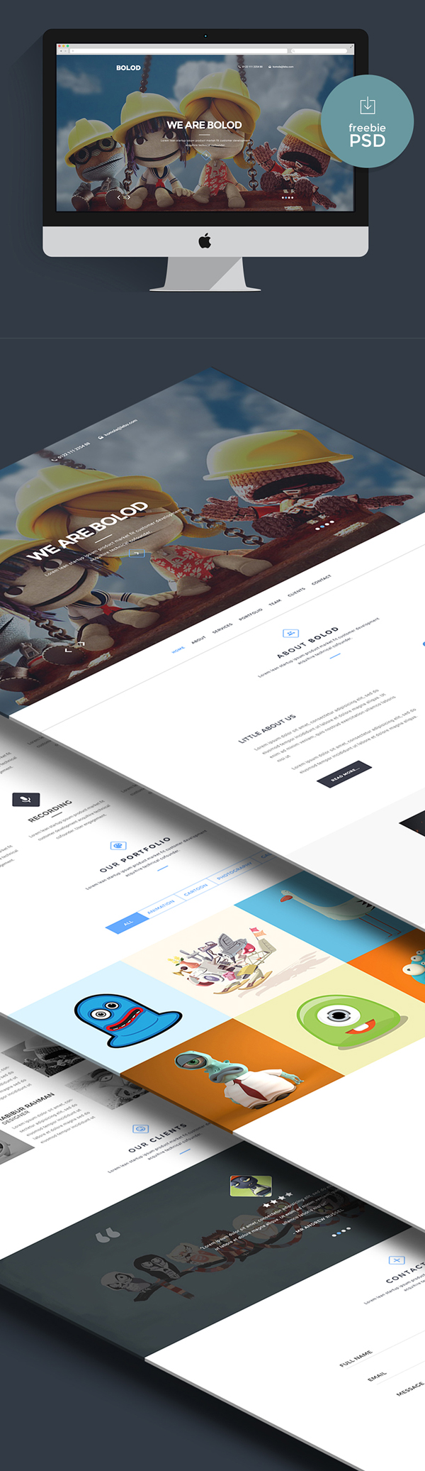 Freebie - Bolod One Page PSD Template