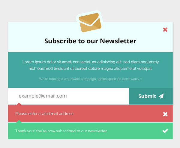 Newsletter Subscription Form Mockup