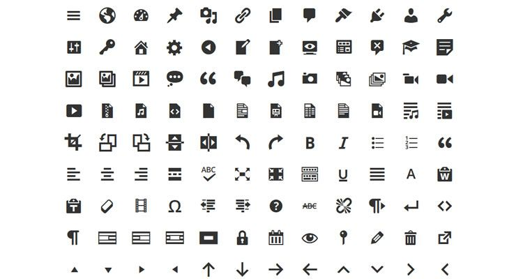 Dashicons WordPress Icon Set 190 icons Webfont format free