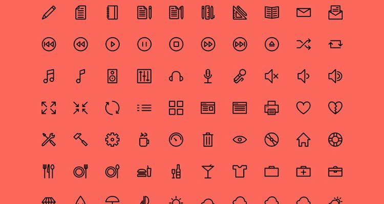Outlined Icons 150 icons PSD AI SVG Webfont formats freebie
