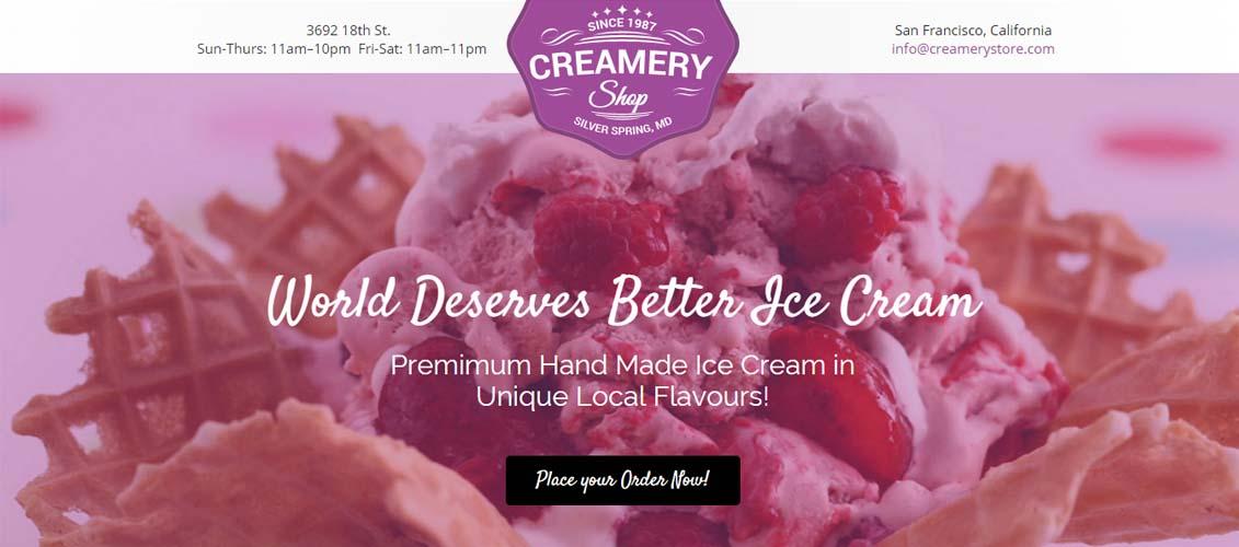 Creamery Shop - Unbounce Landing Page