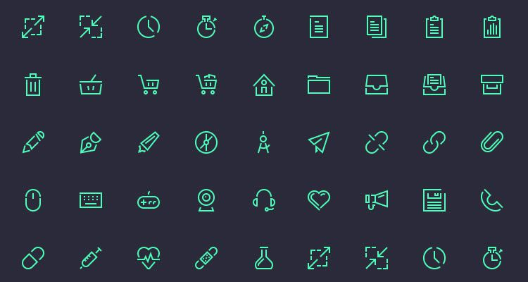 Stroke Gap Icons Set Vol.2 50 icons PSD AI formats freebie